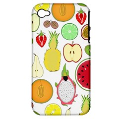 Mango Fruit Pieces Watermelon Dragon Passion Fruit Apple Strawberry Pineapple Melon Apple Iphone 4/4s Hardshell Case (pc+silicone) by Mariart