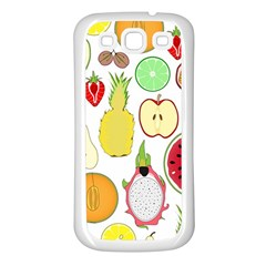 Mango Fruit Pieces Watermelon Dragon Passion Fruit Apple Strawberry Pineapple Melon Samsung Galaxy S3 Back Case (white) by Mariart
