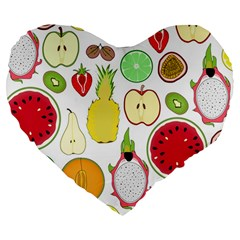 Mango Fruit Pieces Watermelon Dragon Passion Fruit Apple Strawberry Pineapple Melon Large 19  Premium Flano Heart Shape Cushions by Mariart