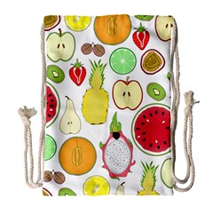 Mango Fruit Pieces Watermelon Dragon Passion Fruit Apple Strawberry Pineapple Melon Drawstring Bag (large) by Mariart