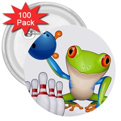 Tree Frog Bowler 3  Buttons (100 Pack)  by crcustomgifts