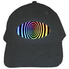 Hypnotic Circle Rainbow Black Cap by Mariart