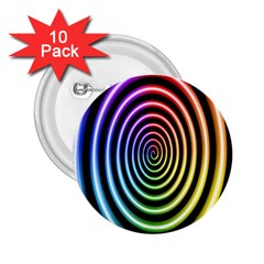 Hypnotic Circle Rainbow 2 25  Buttons (10 Pack)