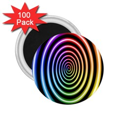 Hypnotic Circle Rainbow 2 25  Magnets (100 Pack)  by Mariart