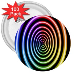 Hypnotic Circle Rainbow 3  Buttons (100 Pack)  by Mariart
