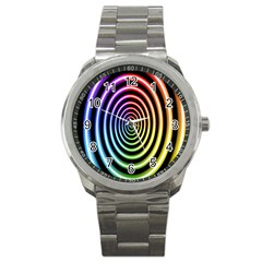 Hypnotic Circle Rainbow Sport Metal Watch by Mariart