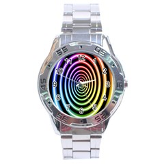 Hypnotic Circle Rainbow Stainless Steel Analogue Watch by Mariart