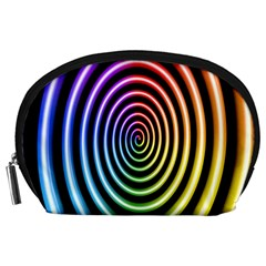 Hypnotic Circle Rainbow Accessory Pouches (large)  by Mariart