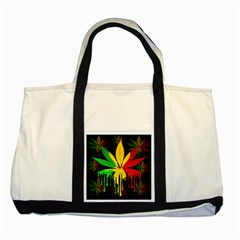 Marijuana Cannabis Rainbow Love Green Yellow Red Black Two Tone Tote Bag by Mariart