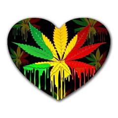 Marijuana Cannabis Rainbow Love Green Yellow Red Black Heart Mousepads by Mariart