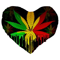 Marijuana Cannabis Rainbow Love Green Yellow Red Black Large 19  Premium Heart Shape Cushions by Mariart