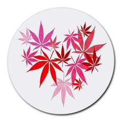 Marijuana Cannabis Rainbow Pink Love Heart Round Mousepads by Mariart