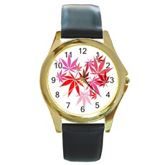 Marijuana Cannabis Rainbow Pink Love Heart Round Gold Metal Watch by Mariart