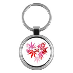 Marijuana Cannabis Rainbow Pink Love Heart Key Chains (round)  by Mariart