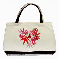 Marijuana Cannabis Rainbow Pink Love Heart Basic Tote Bag by Mariart
