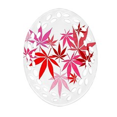 Marijuana Cannabis Rainbow Pink Love Heart Oval Filigree Ornament (two Sides) by Mariart