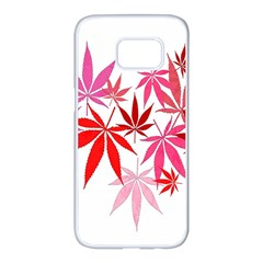 Marijuana Cannabis Rainbow Pink Love Heart Samsung Galaxy S7 Edge White Seamless Case by Mariart