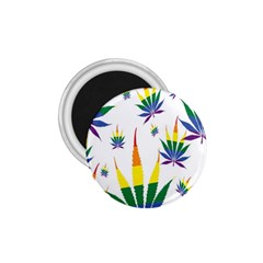 Marijuana Cannabis Rainbow Love Green Yellow Red White Leaf 1 75  Magnets by Mariart