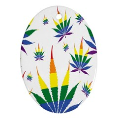 Marijuana Cannabis Rainbow Love Green Yellow Red White Leaf Ornament (oval) by Mariart