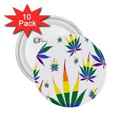 Marijuana Cannabis Rainbow Love Green Yellow Red White Leaf 2 25  Buttons (10 Pack)