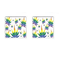 Marijuana Cannabis Rainbow Love Green Yellow Red White Leaf Cufflinks (square) by Mariart
