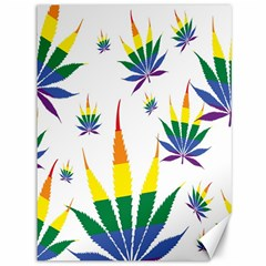 Marijuana Cannabis Rainbow Love Green Yellow Red White Leaf Canvas 36  X 48   by Mariart