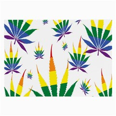 Marijuana Cannabis Rainbow Love Green Yellow Red White Leaf Large Glasses Cloth (2 Side) by Mariart
