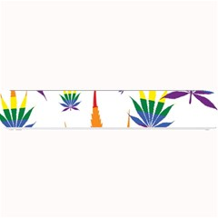 Marijuana Cannabis Rainbow Love Green Yellow Red White Leaf Small Bar Mats by Mariart
