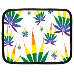 Marijuana Cannabis Rainbow Love Green Yellow Red White Leaf Netbook Case (xxl)  by Mariart