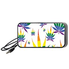 Marijuana Cannabis Rainbow Love Green Yellow Red White Leaf Portable Speaker (black) by Mariart