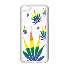 Marijuana Cannabis Rainbow Love Green Yellow Red White Leaf Apple Ipod Touch 5 Case (white) by Mariart