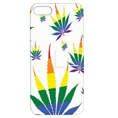 Marijuana Cannabis Rainbow Love Green Yellow Red White Leaf Apple Iphone 5 Hardshell Case With Stand by Mariart