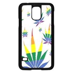 Marijuana Cannabis Rainbow Love Green Yellow Red White Leaf Samsung Galaxy S5 Case (black) by Mariart