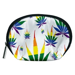 Marijuana Cannabis Rainbow Love Green Yellow Red White Leaf Accessory Pouches (medium)  by Mariart