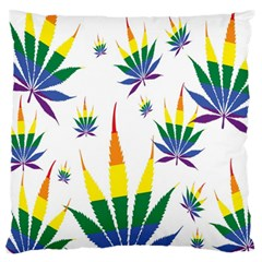 Marijuana Cannabis Rainbow Love Green Yellow Red White Leaf Large Flano Cushion Case (one Side) by Mariart