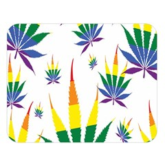 Marijuana Cannabis Rainbow Love Green Yellow Red White Leaf Double Sided Flano Blanket (large)  by Mariart