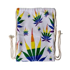 Marijuana Cannabis Rainbow Love Green Yellow Red White Leaf Drawstring Bag (small) by Mariart
