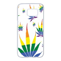 Marijuana Cannabis Rainbow Love Green Yellow Red White Leaf Samsung Galaxy S7 Edge White Seamless Case by Mariart