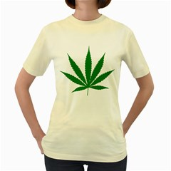 Marijuana Weed Drugs Neon Cannabis Green Leaf Sign Women s Yellow T Shirt by Mariart