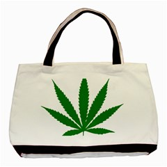 Marijuana Weed Drugs Neon Cannabis Green Leaf Sign Basic Tote Bag by Mariart