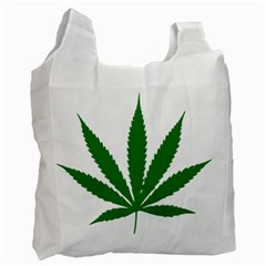 Marijuana Weed Drugs Neon Cannabis Green Leaf Sign Recycle Bag (one Side) by Mariart