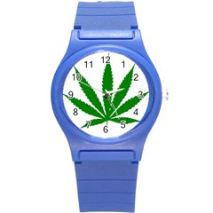 Marijuana Weed Drugs Neon Cannabis Green Leaf Sign Round Plastic Sport Watch (s) by Mariart