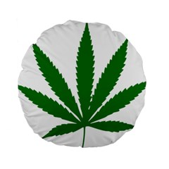 Marijuana Weed Drugs Neon Cannabis Green Leaf Sign Standard 15  Premium Round Cushions by Mariart