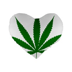 Marijuana Weed Drugs Neon Cannabis Green Leaf Sign Standard 16  Premium Heart Shape Cushions by Mariart