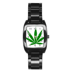 Marijuana Weed Drugs Neon Cannabis Green Leaf Sign Stainless Steel Barrel Watch by Mariart
