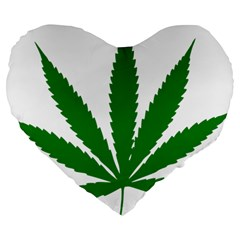 Marijuana Weed Drugs Neon Cannabis Green Leaf Sign Large 19  Premium Flano Heart Shape Cushions by Mariart