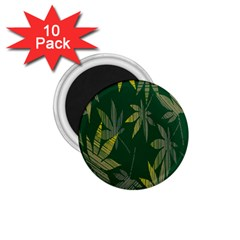 Marijuana Cannabis Rainbow Love Green Yellow Leaf 1 75  Magnets (10 Pack)  by Mariart