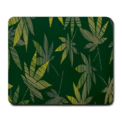 Marijuana Cannabis Rainbow Love Green Yellow Leaf Large Mousepads by Mariart