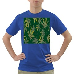 Marijuana Cannabis Rainbow Love Green Yellow Leaf Dark T Shirt by Mariart