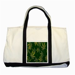 Marijuana Cannabis Rainbow Love Green Yellow Leaf Two Tone Tote Bag by Mariart